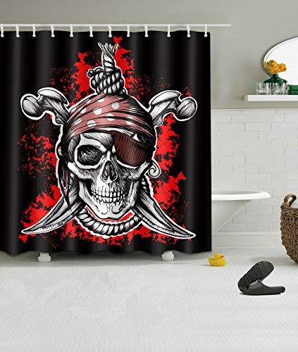 Nyngei Duschvorhang mit Piraten-Totenkopf-Motiv, wasserdicht, 183 x 183 cm