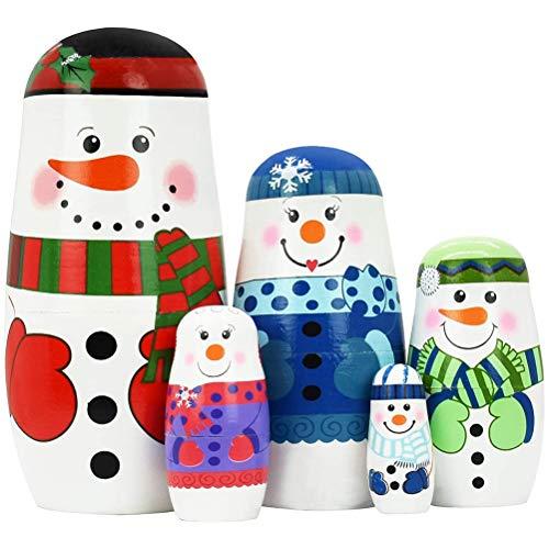 Creacom 5 Pcs Christmas Wooden Russian Nesting Dolls Santa Claus Matryoshka Red Xmas Theme Handmade Wooden Dolls Russian Traditional Dolls Children Toy Gifts Doll Set For Home Office