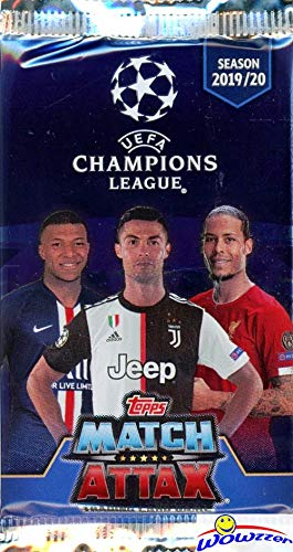 2019/20 Topps Match Attax Champions League Soccer Collection of (10) Factory Sealed Foil Packs with 60 Cards! Look for Top Stars including Ronaldo, Lionel Messi, Harry Kane, Neymar Jr