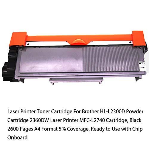 Cartucho de tóner de impresora láser para Brother HL-L2300D Cartucho de polvo Impresora láser 2360DW Cartucho MFC-L2740, negro 2600 páginas Formato A4 5% de cobertura, listo para usar con chip inc