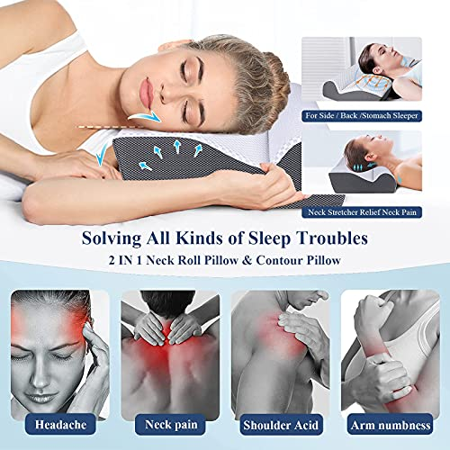 Cervical Pillow for Sleeping, IKSTAR 2 in 1 Memory Foam Neck Support Pillow for Neck and Shoulder Pain, Contour Neck Roll Pillows for Sleeping for Back Side Stomach Sleepers [U.S .Patent]