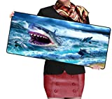 FVNJHL White Shark Cartoon Large Game Mouse Pad 900 * 400 con Edge Locking Speed Version Game Keyboard Pad For Gamer