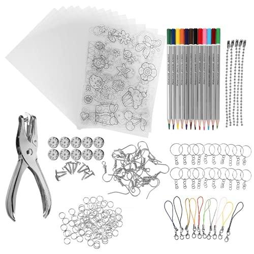 20 piezas de papel de película retráctil translúcida y 8 juegos de herramientas, kits de manualidades de papel para niños, decoraciones de bricolaje o accesorios creativos de llavero