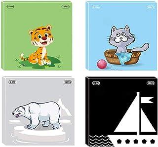 Tomaibaby 4 Stuks Hoog Contrast Baby Flashcard Zwart Wit Kleurrijke Visuele Stimulatie Leeractiviteit Kaart Voor 0 - 3 Jaa...