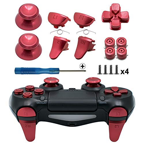 TOMSIN Metal Buttons for PS4 Slim/ PS4 Pro Controller, Aluminum Metal Thumbsticks Analog Grip & Bullet Buttons & D-pad & L1 R1 L2 R2 Trigger for PS4 Controller Gen 2 (Red)