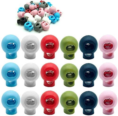 CKANDAY 60 piezas de plástico con cierre de cordón, resorte de extremo orificio único Toggle Stopper Slider para mochila con Mochila Suministros para manualidades,6 colores, forma de bola redonda