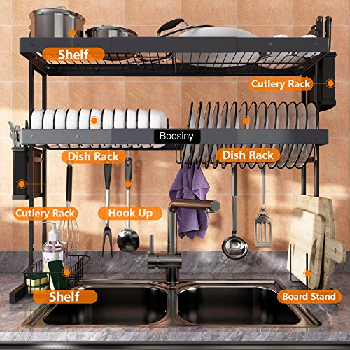 Over Sink Dish Drying Rack, Boosiny 2 Tier Stainless Steel Large Expandable Kitchen Rack (27.5'' - 33.5''), Adjustable Length Drainer Shelf with Utensil Holder, Above Sink Storage Shelves Organizer