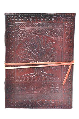 Diario de piedra de cuero hecho a mano de 10 pulgadas de largo árbol de la vida en relieve diario diario   cuaderno de oficina   libro universitario libro de poesía libro de bocetos bloc de notas