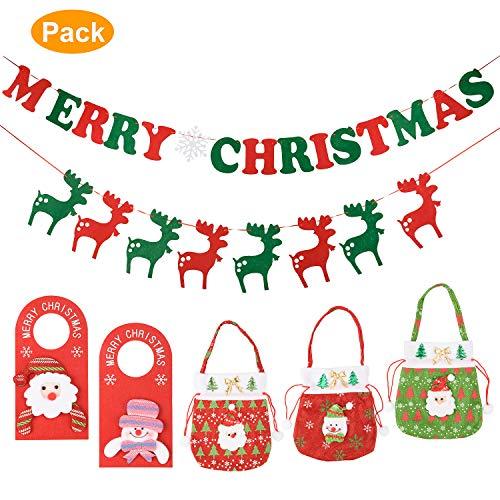 AMORKO Decorazioni Natalizie per Bambini, Paraorecchie Natalizie, Mini Borsa per Caramelle Ornamenti per Bambine Natalizie Decorazione per Feste Regali Natalizi