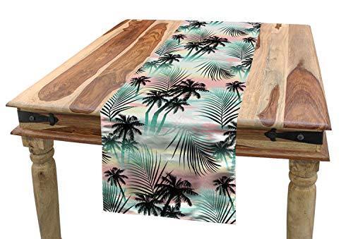 ABAKUHAUS Hawai Camino de Mesa, Las Palmeras del Verano Helecho, Decorativo para el Comedor o Sala de Estar Fácil de Limpiar, 40 x 180 cm, Multicolor