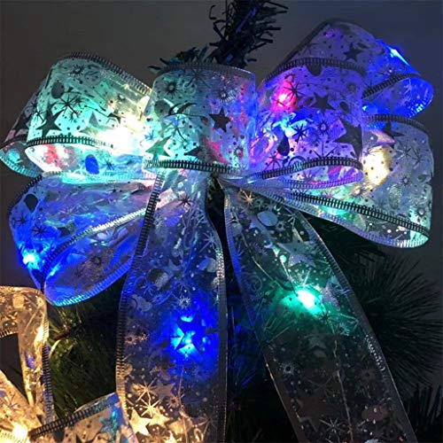 LED Christmas Tree Ornaments Ribbon Bows for Home Christmas Tree Wreaths Decor, Stickers Bar Ornament Yard Garden Porch Party Garland Snowflake Bell DIY Multicolor