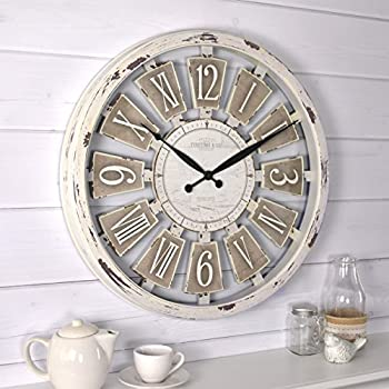 white distressed wall clock