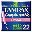 Tampax Compak Tampons with Plastic Applicator x 22–Active Fresh–Pack of 3