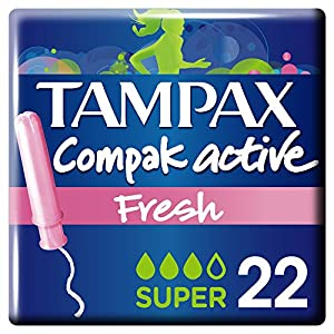 Tampax Compak Tampons with Plastic Applicator x 22 – Active Fresh – Pack of 3