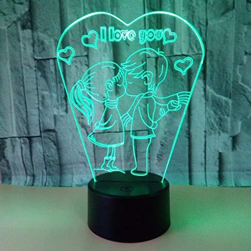 LG Snow lámparas Me Encanta Besar Lámpara LED Gradiente De Colores Táctil 3D Estereoscópica Remota USB Luz De La Mesilla De Noche Regalo De Cumpleaños Creativo De Escritorio Decorativa del Matrimonio