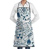 Katrine Store Química Delantal con peto ajustable con 2 bolsillos, cocina Delantales de cocina para mujeres Hombres Chef