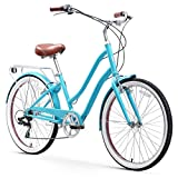 sixthreezero EVRYjourney Steel Women's Hybrid Bike with Rear Rack, 26 Inches, 7-Speed, Teal, Teal w/Brown Seat/Grips