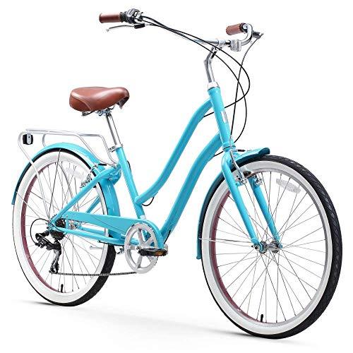 sixthreezero EVRYjourney Steel Women's Hybrid Bike with Rear Rack, 26 Inches, 7-Speed, Teal, Teal w/Brown Seat/Grips
