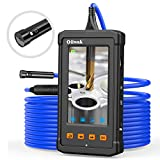 Oiiwak Dual-Lens Endoscope, 1080P HD Waterproof Industrial Borescope Digital Inspection Snake Camera with 4.3Inch IPS Screen, 7 LED Lights, 16.5FT Semi-Rigid Cable, 32GB Card