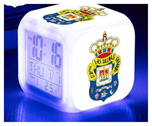 JSJJAYU Despertador para niños Reloj de Alarma LED Relojes de Equipo de fútbol de España Reloj Digital 7 Color Flash Reveil Toys (Color : Sky Blue)