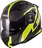 LS2 - Casco Integral para Moto Vortex Frame, XXL Negro carbón Amarillo