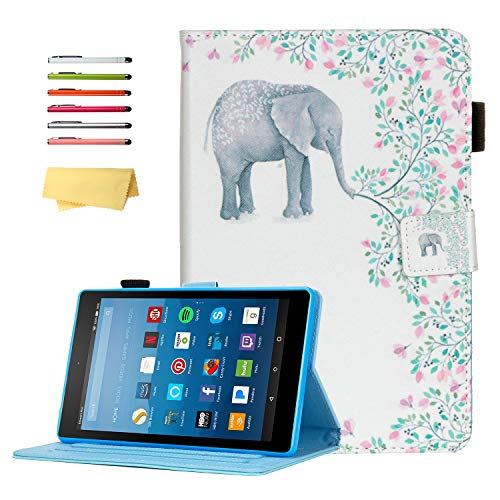 UUcovers Case for All-New Amazon Kindle Fire HD 8 2020 10th Generation & Fire HD 8 Plus 2020 10th Gen Tablet 8' Stand Smart PU Leather Cover with Pencil Holder [Auto Wake/Sleep],Elephant Flower Tree