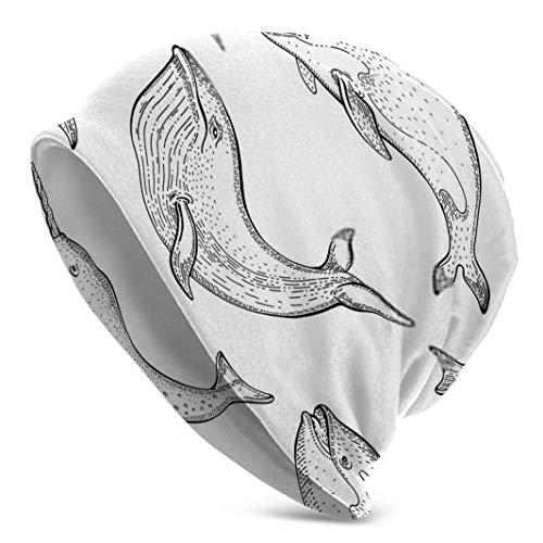 Zhgrong Walmuster mit Blauwal Narwal Orca Killer Winter Mütze Hut Schal Set Fleece Futter Warm gestrickt Dick gestrickt Schädelkappe für