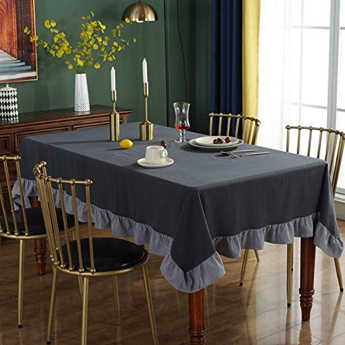 Kuingbhn Home Pattern Wipe Clean Fabric Tablecloth Retro Cotton Home for indoor or Outdoor Parties Birthdays Weddings Dark Gray 120×120cm