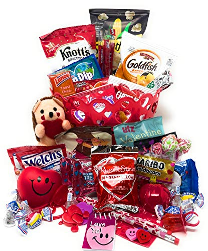 Valentines Day Candy Snacks Chocolates Care Package 50+ Piece Assortment Gift Basket for Boys, Girls, Teens, College Students, Military, Boyfriend, Girlfriend, Husband, Wife
