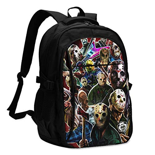 Personalized Backpack With Usb Charger Port Horror Movie Jason Voorhees Laptop School Bag Waterproof Business Travel Rucksack Multipurpose Daypack For Teens And Adult