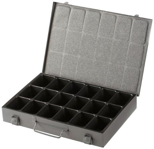 Allit metalen Hardware Box met 18-vaks verwijderbare kunststof lade - grijs