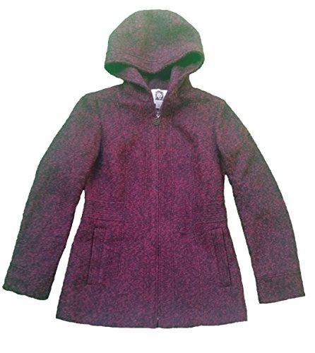 Anne Klein Womens Hooded Full Zip Wool Blend Coat (Black/Burgundy)