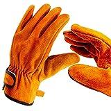 アウトドア 耐熱グローブ キャンプ BBQ ソフト レザーグローブ 牛革手袋