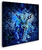 deyoli Dark Sternzeichen Stier Format: 60x60 Effekt: Zeichnung als Leinwandbild, Motiv fertig gerahmt auf Echtholzrahmen, Hochwertiger Digitaldruck mit Rahmen, Kein Poster oder Plakat
