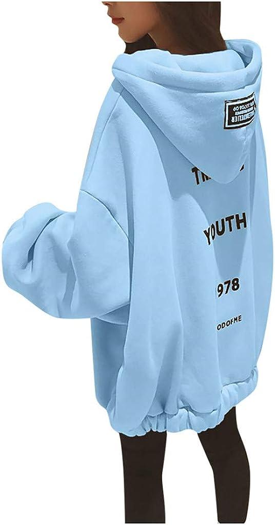 Quealent Hoodies Sweatshirt for Women,Women's Casual Loose Zip up Hoodies Sweatshirt Outerwear Jacket Tunic Coat