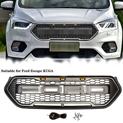 QMZDXH Parrilla Frontal para Ford Escape Kuga 2017 2018 2019 Rejilla Decorativa del Radiador del AutomóVil ABS para ModificacióN, Portabicis para Coche