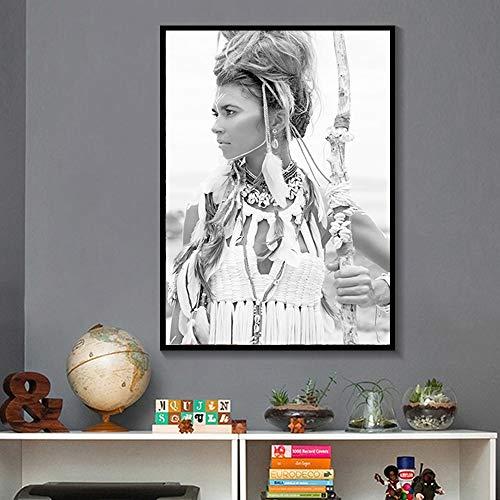 (Geen frame) 60x80cm zwart wit mooie Indiase meisje afdrukken vintage poster muur canvas schilderij Afrika landschap muur foto's voor de woonkamer
