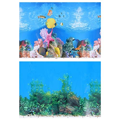 iplusmile 2 Stück 3D Aquarium Aufkleber Doppelseitiges Aquarium Wallpaper Aquarium Poster