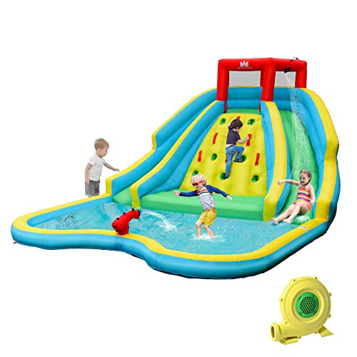 BOUNTECH Inflatable Double Slide Bounce House, Kids Splash Pool Water Slide w/Climbing Wall, Water Cannon, Splash Pool, Including Carry Bag, Repairing Kit, Stakes, Hose (with 750W Air Blower)
