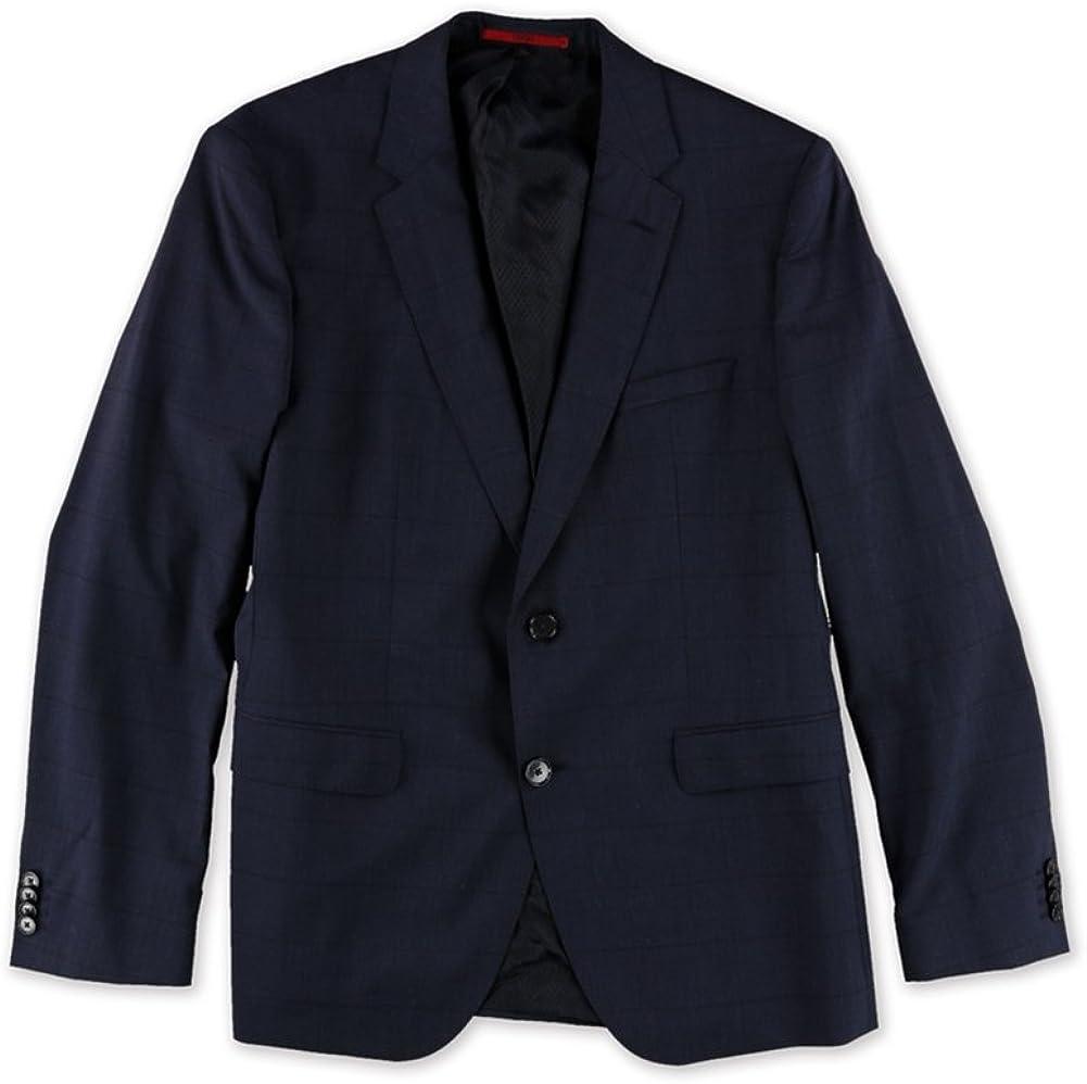 Hugo Boss Mens Plaid Two Button Blazer Jacket, Blue, 42 Regular