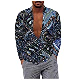 D-Rings Camisa de manga larga para hombre, estilo casual, talla grande, de algodón y lino, camisa de manga larga, camisa de verano, camiseta de ocio, corte regular, azul, XL