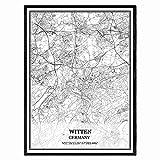 Witten Deutschland Karte Wandkunst Leinwand drucken Poster