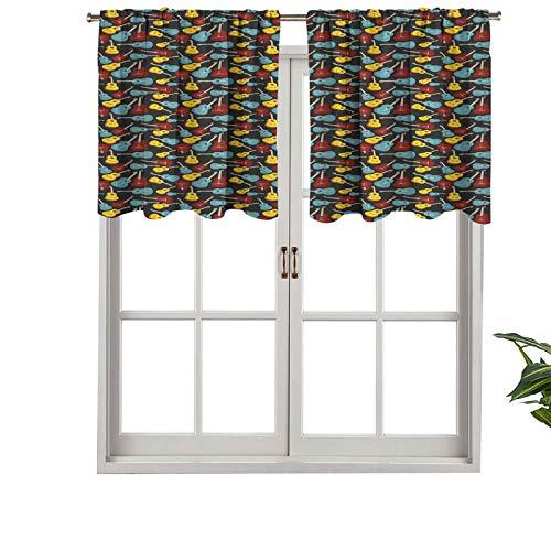Hiiiman Cortina opaca corta con bolsillo para barra de cortina acústica de madera antigua, ilustración de música folk country, juego de 1, 50 x 45 cm cortinas de cocina para sala de estar