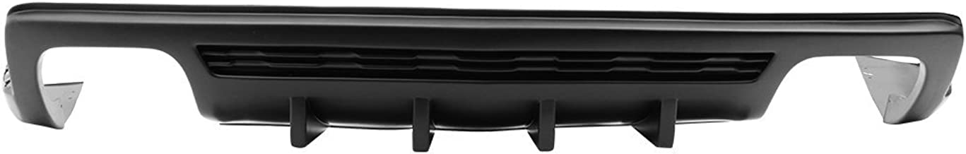 Rear Bumper Diffuser Compatible With 2010-2013 Chevy Camaro   IKON Style PP Unpainted Black Shark Fin Chin Lip Spoiler By IKON MOTORSPORTS