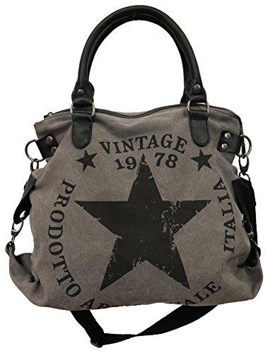 Star Bag Vintage - Bolso de tela para mujer, diseño de estrella, color Gris, talla Maße: L: 45cm H: 42cm B: 18cm