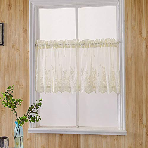 1 cortina de cocina, panel de encaje bordado, floral, media ventana, con pestañas, semitransparente, decorativa, para cocina, baño, sala de estar, café (74 x 61 cm, beige)