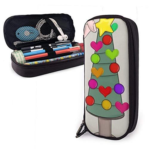 Stifttaschen,Weihnachtsbäume Leder Stift Fall Beliebt Lernbriefpapier Münzen Beutel Schreibtisch Organizer Tasche Für Bürobedarf,20X9X4Cm