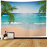 Gobelin Meereslandschaft Sand Azurblauer Ozean Blaues Wasser Sonnenlicht Abenteuer Himmel Natur Tourist Urlaub Sauberes Paradies 150*200Cm