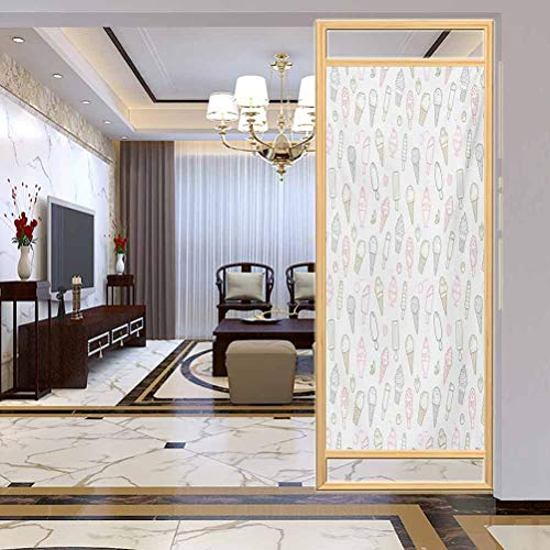 Review Office Self-Adhesive Home Window Film, Ice Cream Different Types of Ice Cream Pastel Co...