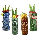 bar@drinkstuff Ceramic Beach Tiki Party Pack - Set of 4 - Ceramic Cocktail Mugs